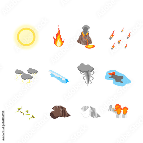 Nature Disaster Concept Icon Set 3d Isometric View. Vector Wallpaper Mural