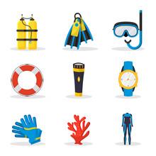 Scuba Diving Equipment Vector Illustrations Set