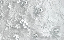 Paper Whited Flowers. Valentin...