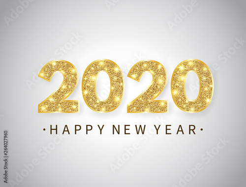Happy New Year 2020 Glitter Happy New year banner with gold glitter 2020 numbers and text on