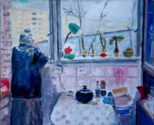 Old Lady In The Kitchen, Oil Painting