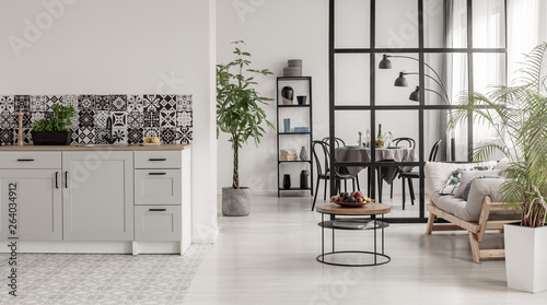 Foto  Elegant kitchen and dining room interior with black and white design and plant i