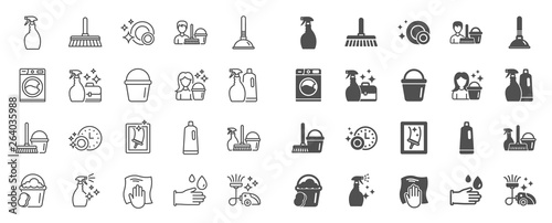 Leinwand Poster Cleaning line icons
