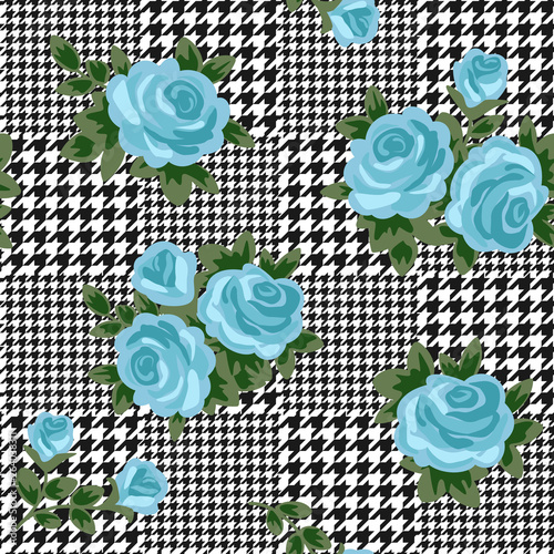 Photo  vector houndstooth seamless black and white pattern with blue retro roses