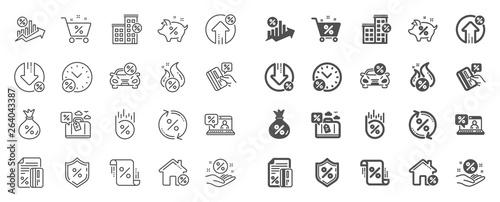 Carta da parati Loan line icons