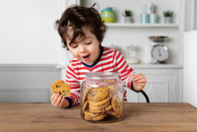 Cute Toddler Holding A Cookie ...