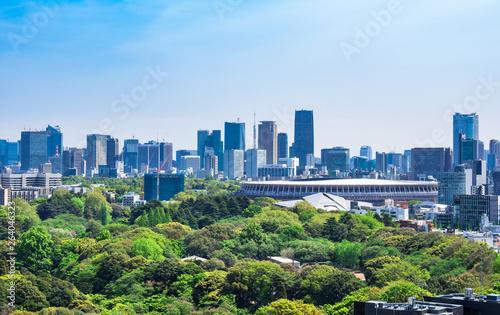 東京 新国立競技場と都心部の町並み