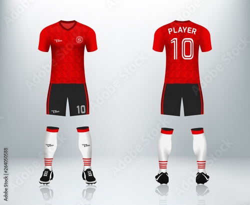 3D realistic mock up of front and back of soccer jersey