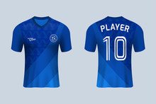 3D Realistic Mock Up Of Front And Back Of Blue Soccer Jersey T-shirt . Concept For Football Team Uniform Or Apparel Mockup Template In Design Vector Illustration