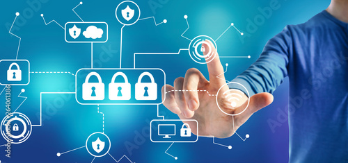 Papiers peints Individuel Cyber security theme with a man on a blue background
