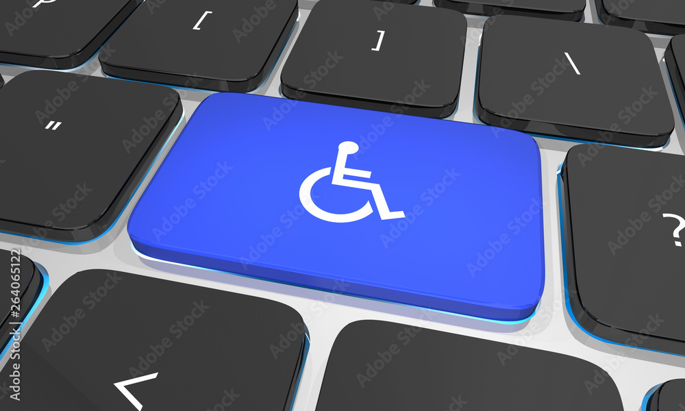 Fototapety, obrazy: Wheelchair Disabled Person Symbol Disability Computer Keyboard Button Key 3d Illustration