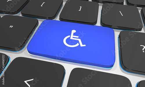 Wheelchair Disabled Person Symbol Disability Computer Keyboard Button Key 3d Ill Wallpaper Mural