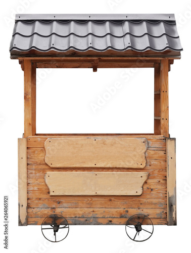 Stampa su Tela Wooden market stand stall with metal brown awning on wheels