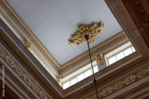 Ceiling illuminated by clerestory windows to reveal elaborate cornice and frieze Wallpaper Mural