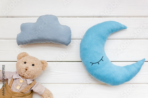 Baby Sleep Pattern With Moon Pillow Cloud Teddy Bear On White