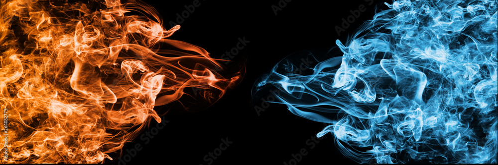 Fototapety, obrazy: Abstract Fire and Ice element against (vs) each other background. Heat and Cold concept