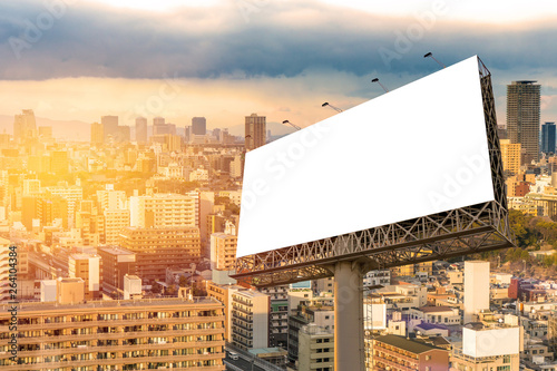 Fotografía  large Blank billboard ready for new advertisement with sunset