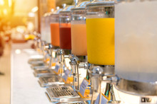 Fruit Juice In Water Cooler For Breakfast At The Hotel