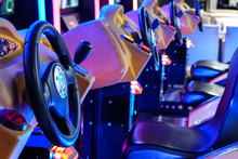 Car Driving Machines At Arcade Games In The Entertainment Zone In Shopping Center