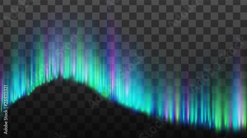 Fotografia, Obraz  Northern Aurora Lights Strips Borealis Vector