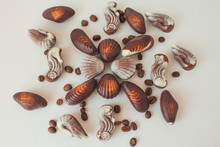 Chocolate Candies In The Shape Of Shells Lie On The Table. Chocolate Shells Of Different Shapes.