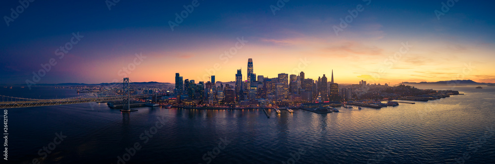 Fototapety, obrazy: Aerial View of San Francisco Skyline with City Lights