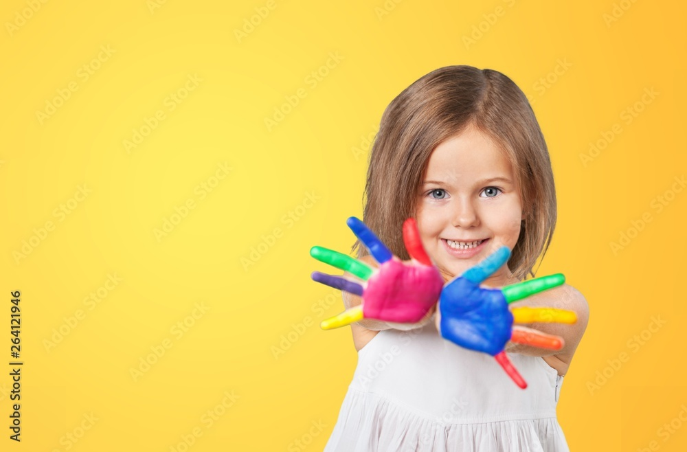 Fototapeta Cute little girl with colorful painted hands