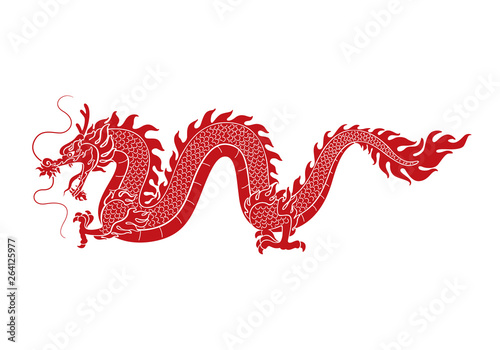 Fotografie, Tablou  graphic red dragon, vector