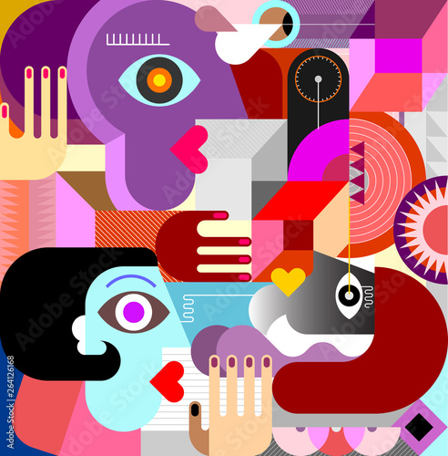 Three People Abstract Art vector illustration