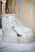 Marble Foot Street In Rome Italy
