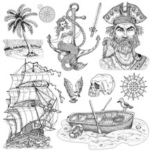 Design Set With Pirate Captain, Mermaid On Anchor, Old Sailing Ship, Boat Isolated On White