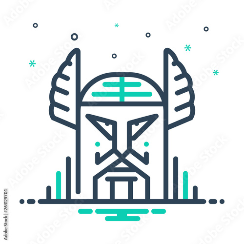 Mix line icon for odin norse Wallpaper Mural