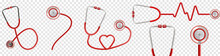 A Set Of Stethoscope Icons Design. Can Be Used To Promote And Advertise. Vector Illustration On Transparent Background