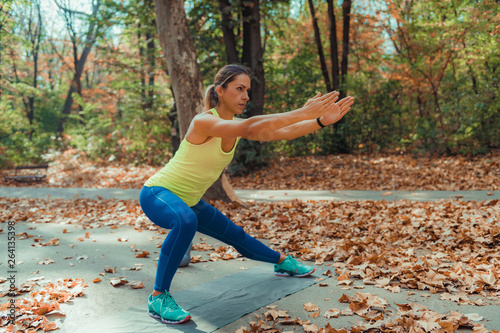 Canvas Print Side Lunges, High-Intensity Interval Training Outdoors.