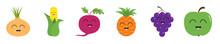 Fruit Berry Vegetable Smiling Face Icon Set Line. Onion, Sweet Corn, Beet, Beetroot, Pineapple, Grape, Apple. Cute Cartoon Kawaii Character. Flat Design. White Background.