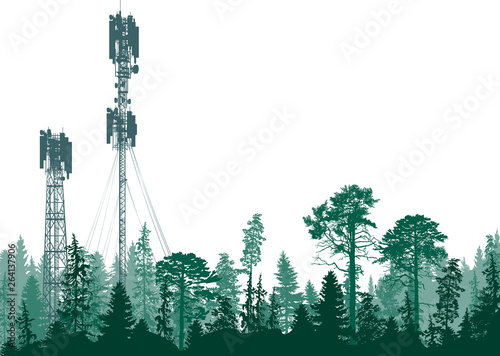 two electric towers in dark forest on white