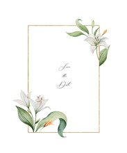 Watercolor Vector Wreath Of Lily Flowers And Green Leaves.