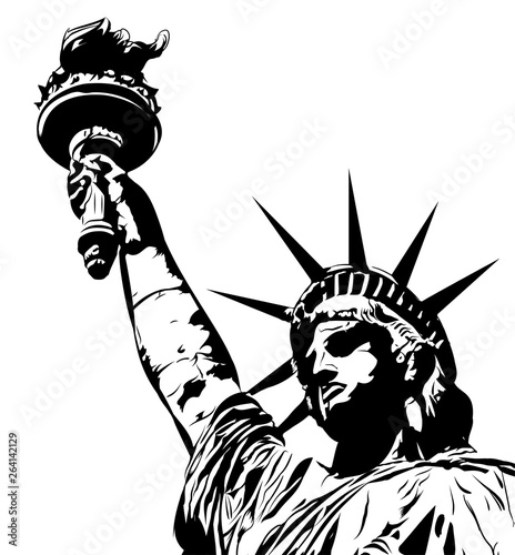 Statue of liberty, black and white vector Canvas Print