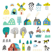 Landscape Elements For Your Design. Scandinavian Style. Mountain Europe. Agriculture.