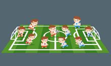 Football Sport Play Field Grass Soccer Game Teams Players Cartoon Kids Flat Design Vector Illustration