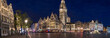 canvas print picture - old town antwerp belgium in the evening high definition panorama
