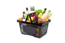 Black Plastic Grocery Basket Full Of Healthy Fruits, Vegetables And Ingredients