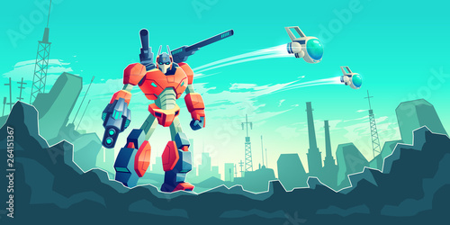Alien invaders attacking metropolis cartoon vector concept Canvas Print