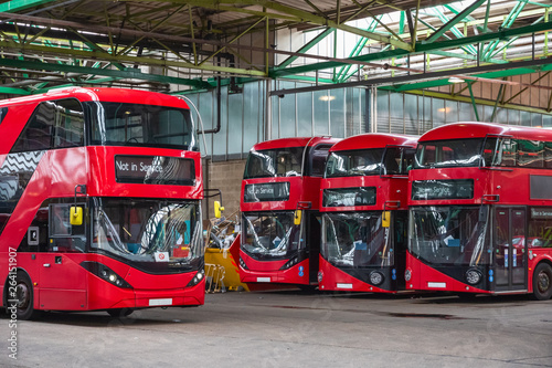 Typical London buses parked at garage in East London Canvas Print