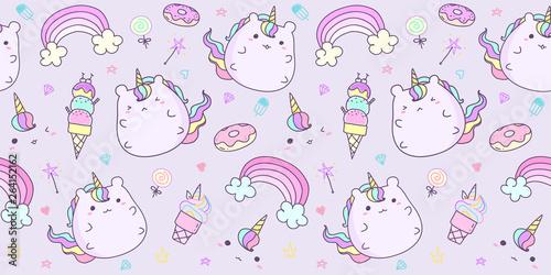 fototapeta na ścianę Cute unicorn pattern seamless horizontal in pastel color. Kawaii unicorn background for kid