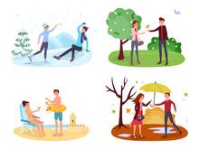 Seasonal Outdoor Activities Vector Illustrations Set
