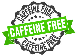 Panel Szklany Kawa caffeine free stamp. sign. seal