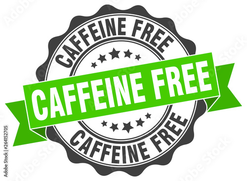 Photographie caffeine free stamp. sign. seal