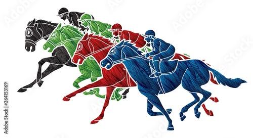 Fotografija Group of Jockeys riding horse, sport competition cartoon sport graphic vector