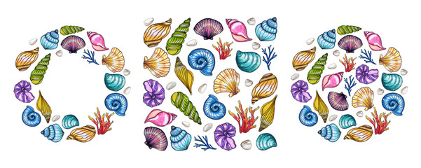 Hand painted watercolor shells template isolated on white background.